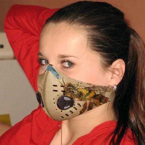 Vintage bee sunflower filter face mask