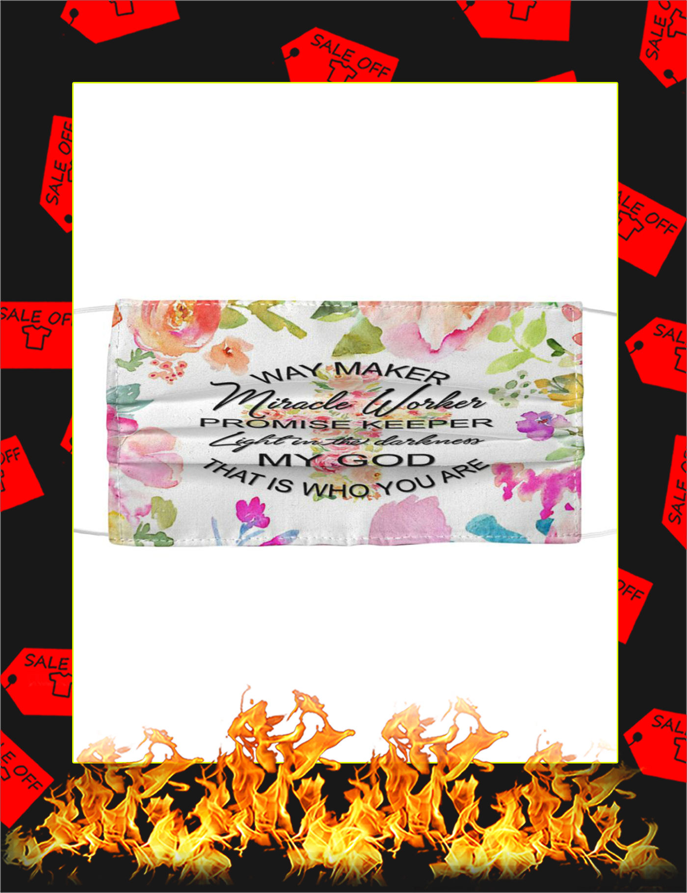Way Maker Miracle Worker God Flower Face Mask - Picture 1