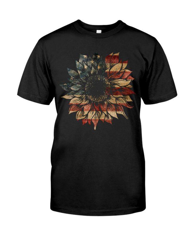 US Flag Sunflower shirt