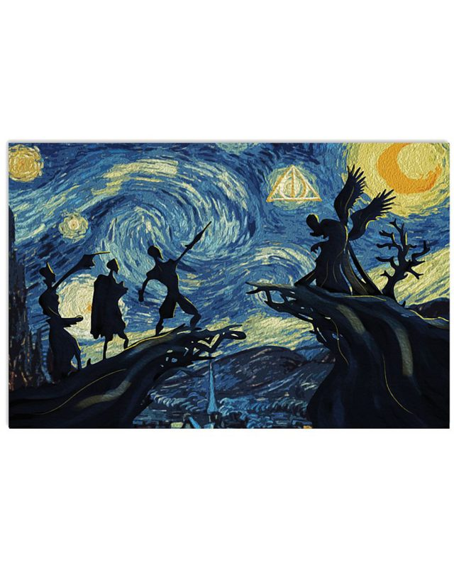 Deathly hallows harry potter starry night poster