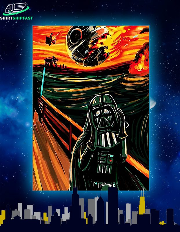 Darth vader and death star scream poster