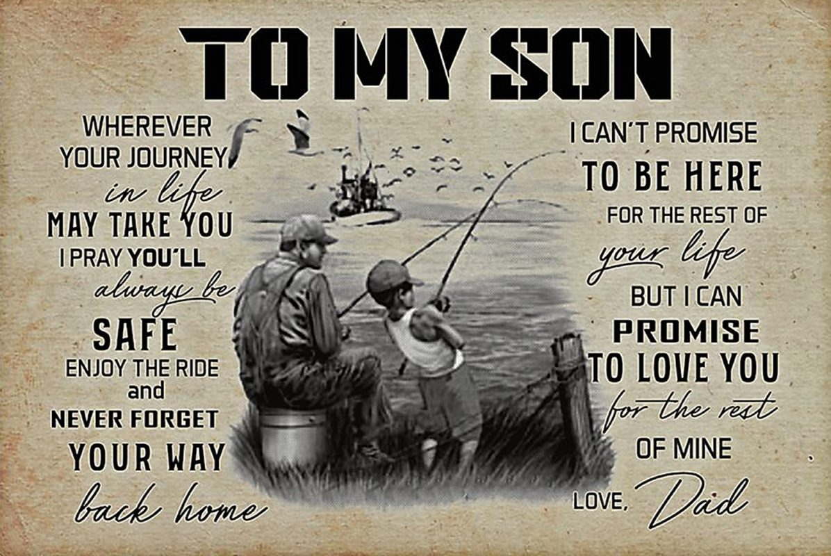 Fishing to my son love dad poster