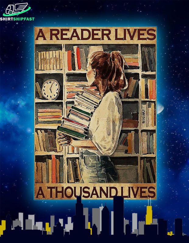 Girl a reader lives a thousand lives poster