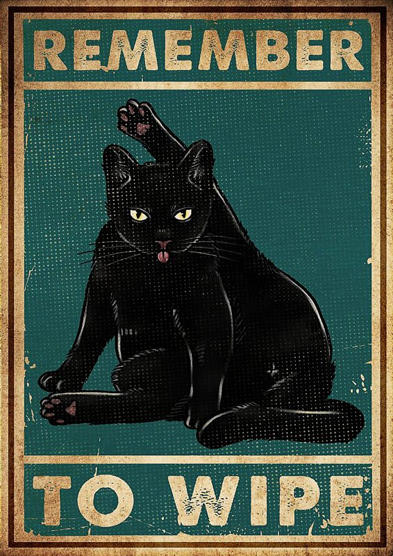 Remember to wipe black cat poster