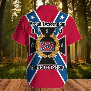 Southern Confederate Flag Proud descendant of a confederate soldier hawaiian shirt - Picture 2