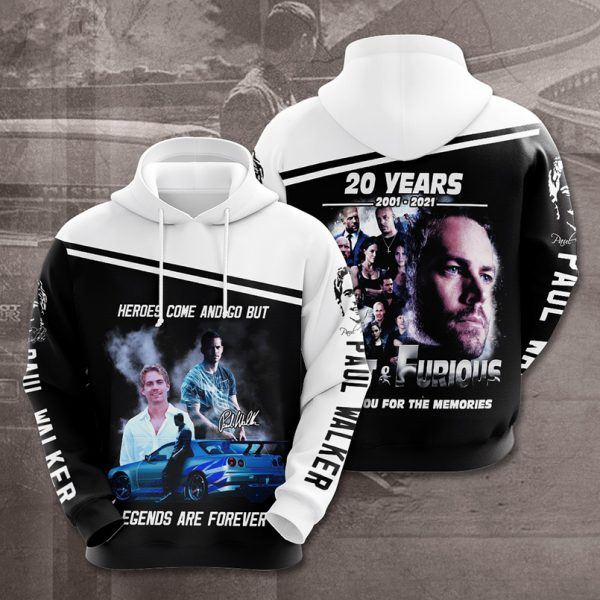 Paul Walker Heroes come and go but legends are forever 3d hoodie - Picture 1