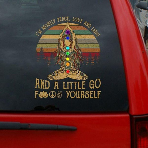 Yoga I'm mostly peace love and light and little go fuck yourself decal sticker - Picture 1